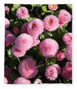 Pink Button Pom Flowers Fleece Blanket