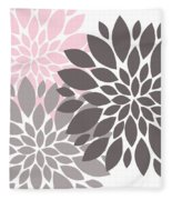 Pink Gray Peony Flowers Fleece Blanket