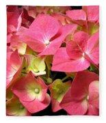 Pink Hydrangea Flowers Fleece Blanket