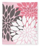 Pink White Grey Peony Flowers Fleece Blanket