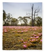 Pink Wildflowers Fleece Blanket
