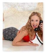 Pinup Girl On The Phone Fleece Blanket