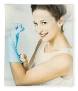 Pinup Housewife Flexing Muscles. Cleaning Strength Fleece Blanket