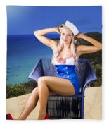 Pinup Woman On A Tropical Beach Travel Tour Fleece Blanket