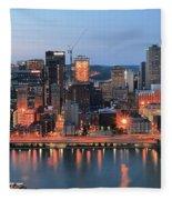 Pittsburgh At Dusk Fleece Blanket