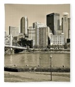 Pittsburgh In Sepia Fleece Blanket