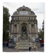 Place Saint-michel Statue And Fountain In Paris France Fleece Blanket