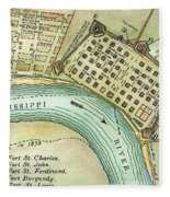 Plan Of New Orleans, 1798 Fleece Blanket