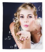 Playful Bride Blowing Bubbles At Wedding Reception Fleece Blanket