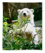 Polar Bear Cub  Fleece Blanket