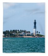 Pompano And The Hillsboro Inlet Lighthouse Fleece Blanket