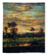 Pond At The Edge Of A Wood Fleece Blanket
