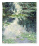 Pond With Water Lilies Fleece Blanket