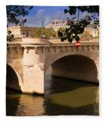 Pont Neuf Over The Seine River Paris Fleece Blanket