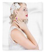 Portrait Of A Beautiful Bride Fleece Blanket