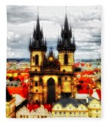 Prague Church Of Our Lady Before Tyn Fleece Blanket