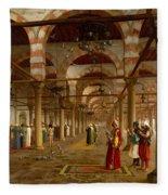 Prayer In The Mosque Fleece Blanket