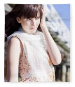 Pretty Young Fashion Model Fleece Blanket