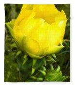 Prickly Pear Cactus Bloom  Fleece Blanket