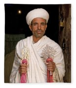 Priest At Ancient Rock Hewn Churches Of Lalibela Ethiopia Fleece Blanket