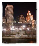 Providence Rhode Island Skyline At Night Fleece Blanket