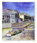 Psychedelic Bruges Canal Scene Fleece Blanket