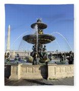 Public Fountain At The Place De La Concorde In Paris France Fleece Blanket