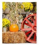 Pumpkins Next To An Old Farm Tractor Fleece Blanket