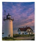 Race Point Lighthouse Sunset Fleece Blanket