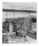 Railroading Construction Fleece Blanket