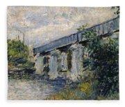 Railway Bridge At Argenteuil Fleece Blanket