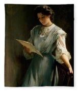 Reading The Letter Fleece Blanket