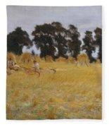 Reapers Resting In A Wheat Field Fleece Blanket