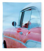 Red Chevy '57 Bel Air At The Beach Square Fleece Blanket