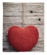 Red Burlap Heart On Vintage Table Fleece Blanket