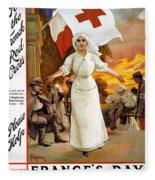 Red Cross Poster, 1915 Fleece Blanket