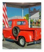 Red Dodge Pickup Truck Parked In Front Fleece Blanket