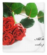 Red Fresh Roses On White Fleece Blanket