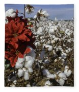 Red In The Cotton  Fleece Blanket