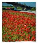 Red Poppy Field Near Highway Road Fleece Blanket