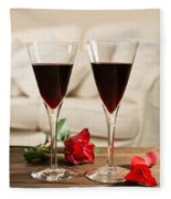 Red Wine And Roses Fleece Blanket