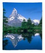 Reflection Of A Snow Covered Mountain Fleece Blanket