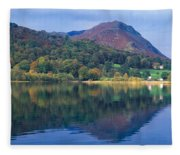 Reflection Of Hills In A Lake Fleece Blanket