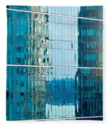 Reflections In Modern Glass-walled Building Facade Fleece Blanket
