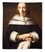 Rembrandt's Portrait Of A Lady With An Ostrich Feather Fan Fleece Blanket