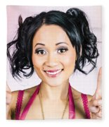 Retro Asian Girl Gesturing Peace Love And Hope Fleece Blanket