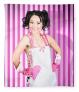 Retro Cleaning Service Maid With Smile Fleece Blanket