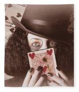 Retro Magician Holding Burnt Playing Card Fleece Blanket
