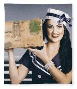 Retro Maritime Portrait. Woman In Sailor Fashion Fleece Blanket