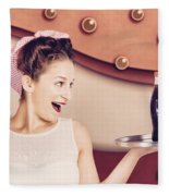 Retro Pinup Girl Holding Food And Drinks Tray Fleece Blanket